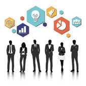 Group of business people silhouettes vector illustration
