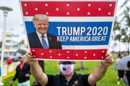 Miami Beach, Florida, USA - May 10, 2020: Trump fu...