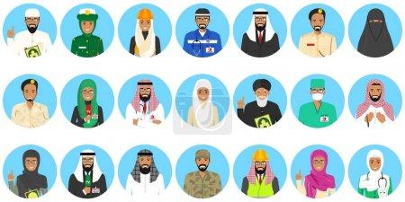 Photo pour Ensemble de différents personnages colorés d'occupation de personnes du Moyen-Orient dans des icônes de style plat. Illustration vectorielle . - image libre de droit