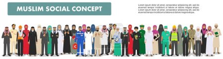 Illustration for Arab man and woman different professions standing together in row on white background in flat style. Flat design people characters. Social concept. Muslim concept. - Royalty Free Image