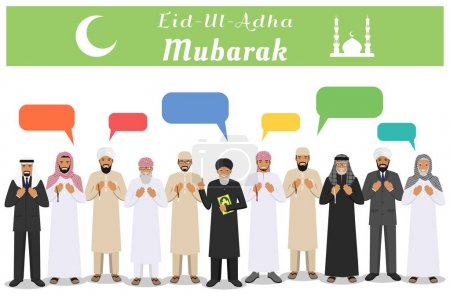 Muslim holiday Eid al-Adha. Feast of the Sacrifice. Different standing praying muslim arabic people, mullah and speech bubble in traditional arabian clothes. Mufti with quran. Islamic men. Vector.