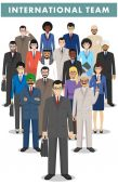 Group of creative people isolated on white background Set of diverse business people standing together Different nationalities and dress styles Cute and simple in flat style