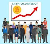 Cryptocurrency concept Group of business people standing together on background graph with trend line rising up and coin with a sign of bitcoin Business team and teamwork concept