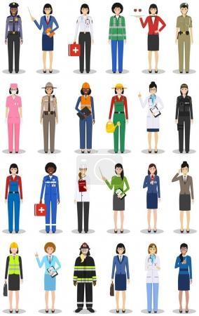 Photo pour Personnages d'occupation de personnes placés dans un style plat isolé sur fond blanc. Icônes vectorielles plates sur fond blanc . - image libre de droit