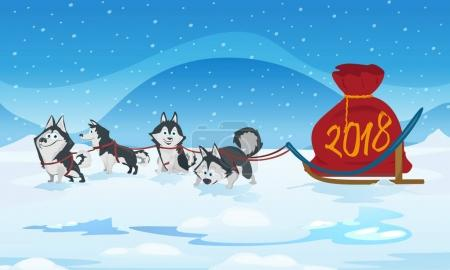 Dogs sled team and chrismas red bag with numbers 2018