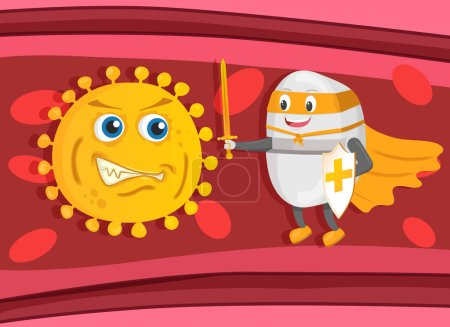 Illustration for Strong supethero pill guardian with sword and shield fight with bacteria or virus on blood background. Pill, health, medical concept - Royalty Free Image