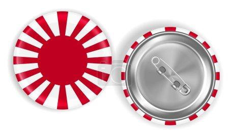 Rising Sun Flag of Japan steel pin brooch vector