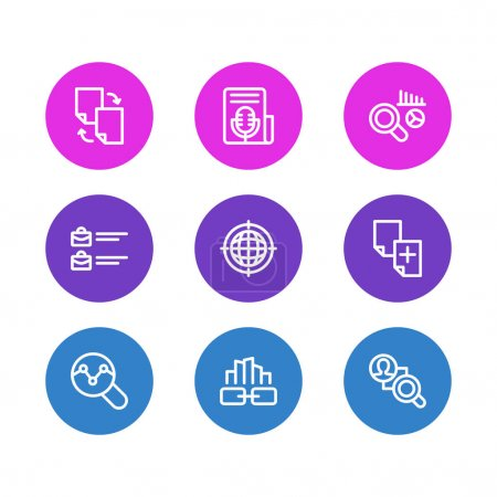 illustration of 9 advertising icons line style. Editable set of link building, geo targeting, competitor analysis and other icon elements.