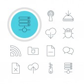 Vector Illustration Of 12 Web Icons Editable Pack Of Privacy Doc Server Data Upload And Other Elements