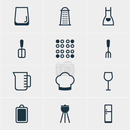 Vector Illustration Of 12 Kitchenware Icons. Editable Pack Of Cooker, Chef Hat, Smock And Other Elements.