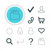 Vector Illustration Of 12 User Icons Editable Pack Of Man Member Help Banned Member And Other Elements