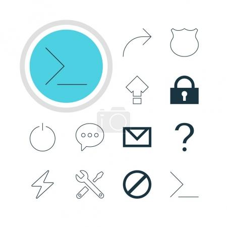 Ilustración de Ilustración vectorial de 12 iconos de la interfaz. Pack editable de carta, compartir, pernos y otros elementos. - Imagen libre de derechos