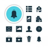 Vector Illustration Of 12 Online Icons Editable Pack Of Bookshelf Account Notification And Other Elements