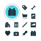 Vector Illustration Of 12 Online Icons Editable Pack Of Landscape Photo Date Time Gift Elements
