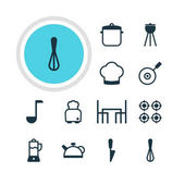 Vector Illustration Of 12 Cooking Icons Editable Pack Of Soup Pan Bread Barbecue And Other Elements
