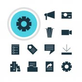 Vector Illustration Of 12 Internet Icons Editable Pack Of Coupon Chat Document Directory And Other Elements