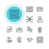 Vector Illustration Of 12 Web Safety Icons Editable Pack Of Safe Storage Confidentiality Options Network Protection And Other Elements