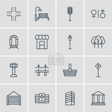 Vector Illustration Of 16 City Icons. Editable Pack Of Lamppost, Parking, Clinic And Other Elements.