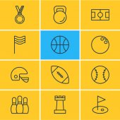 Vector Illustration Of 12 Sport Icons Editable Pack Of Hoop Batting Flag And Other Elements