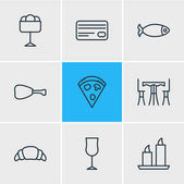 Editable Pack Of Wineglass Card Table And Other Elements Vector Illustration Of 9 Cafe Icons