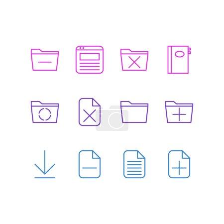 Illustration pour Illustration vectorielle de 12 icônes du Bureau. Pack modifiable d'ajouter, supprimer, modèle et autres éléments . - image libre de droit