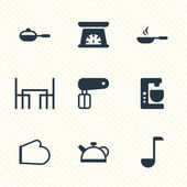 Vector Illustration Of 9 Kitchenware Icons Editable Pack Of Mixer Whisk Measuring Tool And Other Elements