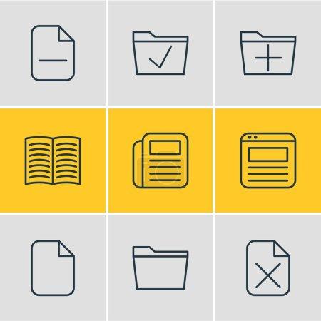 Illustration pour Paquet modifiable de document, manuel, ajouter et autres éléments. Illustration vectorielle de 9 icônes du Bureau . - image libre de droit