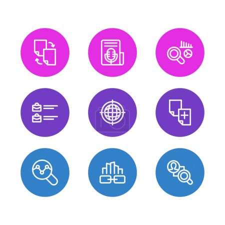Vector illustration of 9 advertising icons line style. Editable set of link building, geo targeting, competitor analysis and other icon elements.