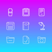 Vector illustration of 9 office icons line style Editable set of padlock edit document and other icon elements