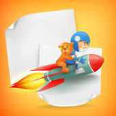 Astronaut kid riding red rocket with teddy bear