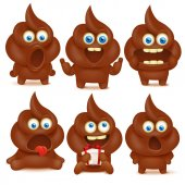 Set of cute poop emoji characters with different emotions Vector collection