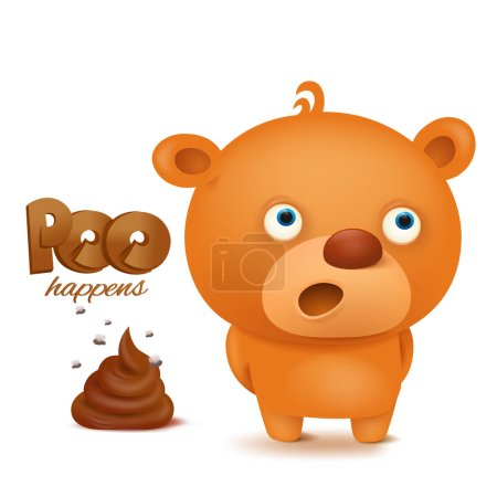 Illustration for Teddy bear emoji character with bunch of poop. Vector illustration - Royalty Free Image