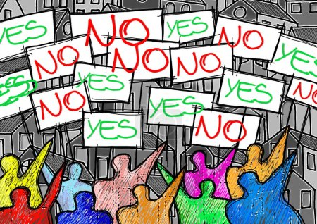 """A group of people protesting writing """"yes and no"""" on their billboards - concept illustration"""