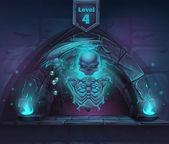 Magic skeleton with scythe in portal