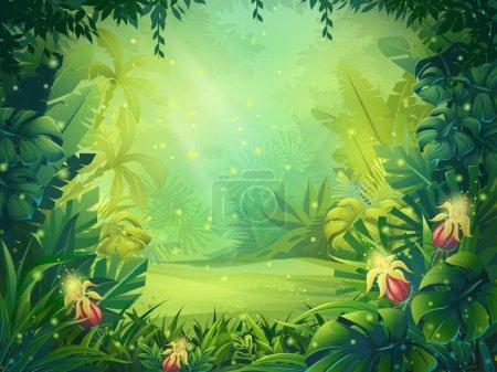 Illustration pour Illustration vectorielle forêt tropicale matinale . - image libre de droit