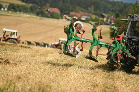 Photo for Plowing a field in the Salzkammergut (Upper Austria, Upper Austria) - - Royalty Free Image