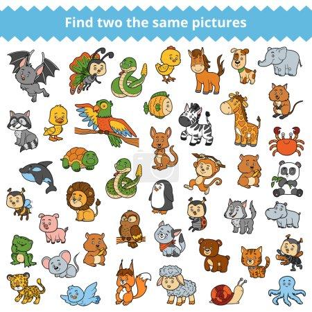 Illustration pour Retrouvez les mêmes photos, jeu éducatif pour enfants, animaux de zoo - image libre de droit