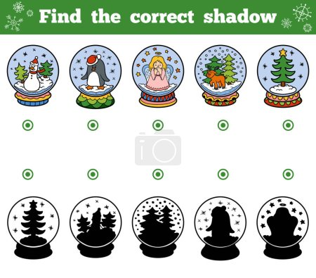 Illustration for Find the correct shadow, education game for children. Snowballs with Christmas items - Royalty Free Image