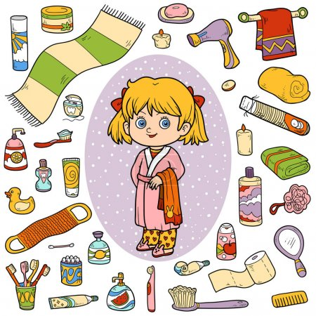 Illustration for Vector color set of bathroom objects, little girl and bathrobe - Royalty Free Image
