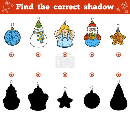 Illustration for Find the correct shadow, education game for children. Vector set of Christmas tree toys - Royalty Free Image