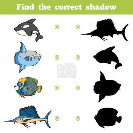 Illustration for Find the correct shadow, education game for children. Vector set of sea animals - Royalty Free Image