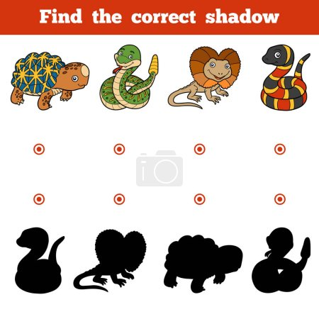 Illustration for Find the correct shadow, education game for children. Vector set of animals - Royalty Free Image