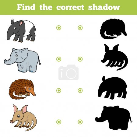Find the correct shadow, game for children. Vector set of animals