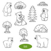 Black and white set of animals and objects family of bears