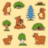 Color set of animals and objects vector stickers family of bea