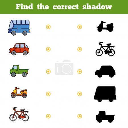 Illustration for Find the correct shadow, education game for children. Set of cartoon transport - Royalty Free Image