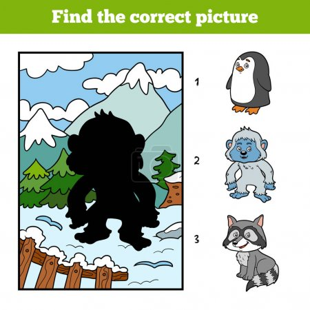 Illustration for Find the correct picture, education game for children, Yeti and background - Royalty Free Image