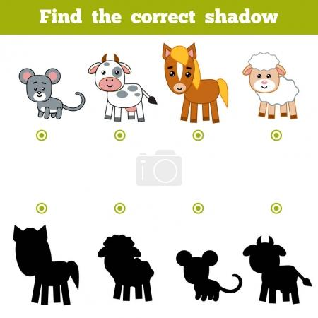 Illustration for Find the correct shadow, education game for children. Set of cartoon farm animals - Royalty Free Image