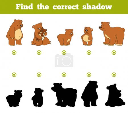 Illustration for Find the correct shadow, education game for children. Set of cartoon bears - Royalty Free Image