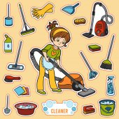 Vector set with girl and objects for cleaning Colorful items